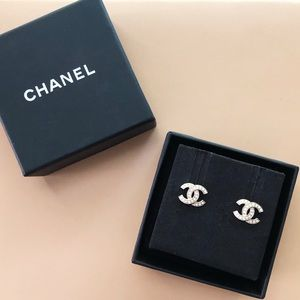 Gold Chanel CC Stud Earrings